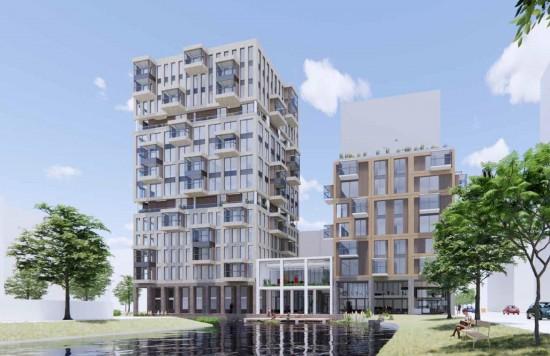 Verstrekte hypothecaire lening op een perceel grond bestemd voor een nieuw te bouwen appartementencomplex met 113 appartementen met een exitfee van € 27.500,- te Amsterdam